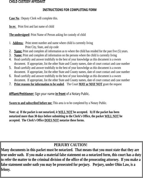 False accusations may be made by the police or any other person. Download Ohio Child Custody Form for Free | Page 6 ...