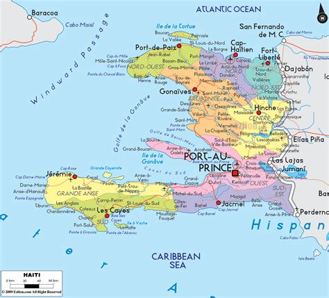 detailed large political map  haiti showing names