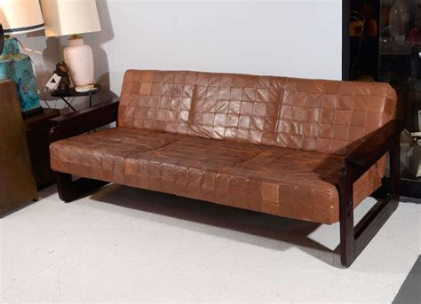 brazilian rosewood and leather sofa by percival lafer at