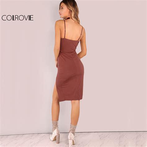 Cami Midi Dress Elegant Bodycon V Neck Side Split Dress