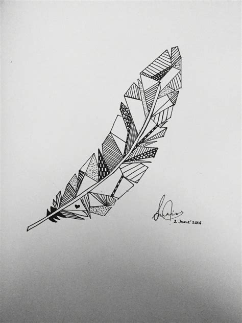 geometrical feather  drawing geometric drawing art