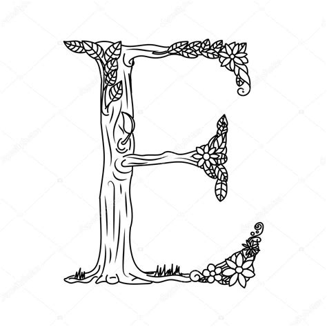 Kleurplaat E by Letter E Coloring Book For Adults Vector Stock Vector