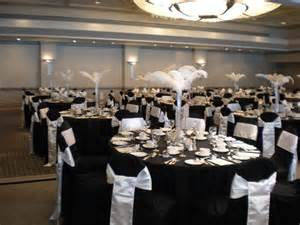 white banquet chair covers black white feather 2
