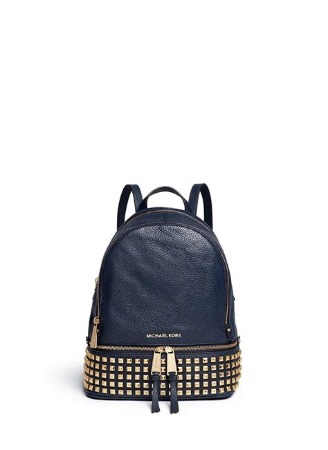 michael kors rhea small stud leather backpack  navy blue lyst