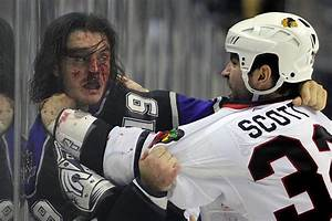Fighting the bear: John Scott demonstrates a hockey fight ...