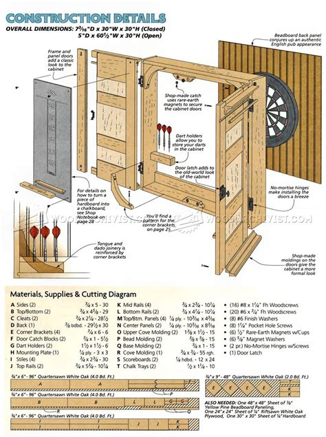 Dart Board Cabinet Dimensions by Dartboard Cabinet Plans Woodarchivist