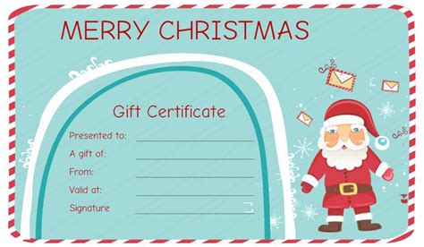 santa messages christmas gift certificate template