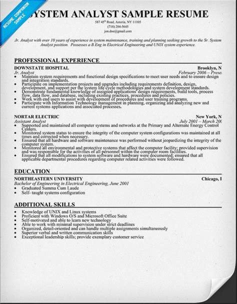 information systems analyst resume student resume template