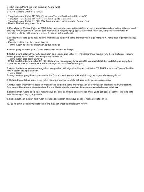 Contoh Teks Notulen by Contoh Salam Pembuka Dan Susunan Acara
