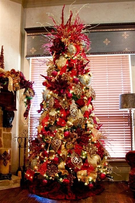 elegantdecoratedchristmastrees red  gold elegant