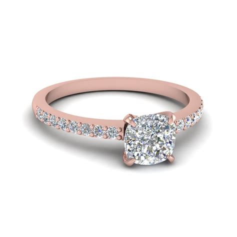 cushion diamond delicate engagement ring in 14k rose gold