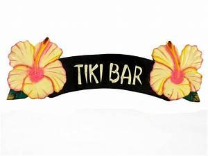 Tiki Bar Yellow Hibiscus Sign