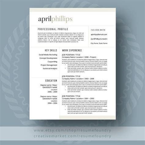 11592 well designed resumes 17 best images about resume templates etsy on
