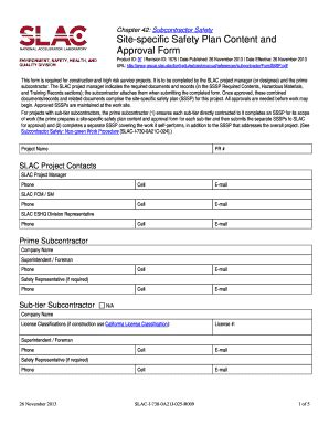 Site Specific Safety Plan Template Construction by Construction Safety Plan Forms And Templates Fillable