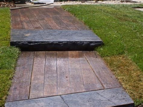 Wood Plank Sidewalk   Stamped Concrete or Deck Boards with