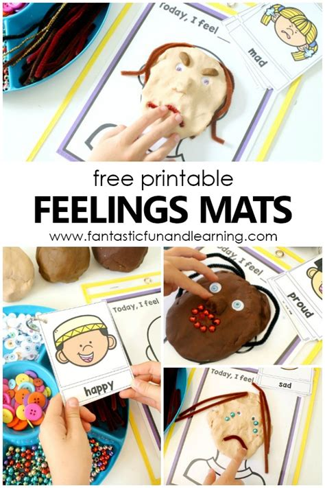 teaching feelings today i feel play dough mats fantastic 231 | Free printable feelings mats and emotions activities for preschool and kindergarten