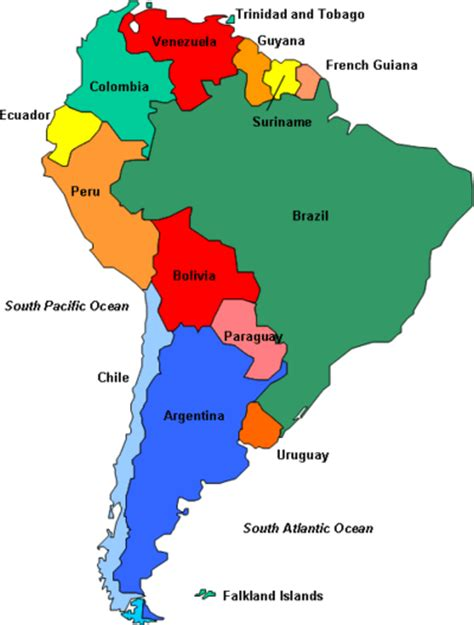 South America Map with Countries