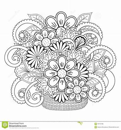 Basket Flowers Coloring Hand Tangle Doodle Boho