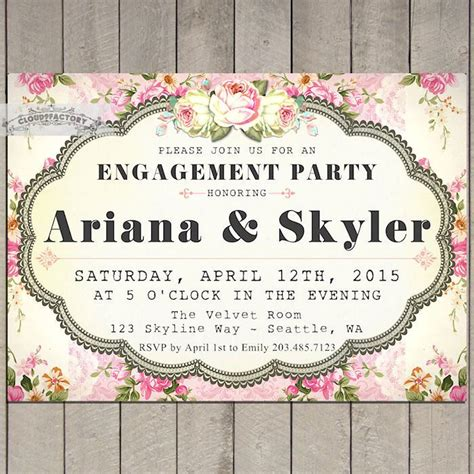engagement party invitations shabby chic style invitations