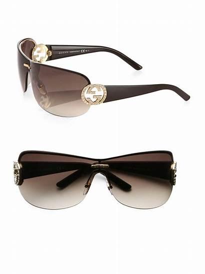 Sunglasses Shield Crystal Gucci Gg Brown Gold