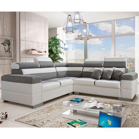 canapé tissu blanc canapé d 39 angle réversible tissu gris 100 polyester pvc
