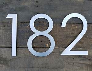 123939 large modern house numbers brushed aluminum stud With contemporary house numbers and letters