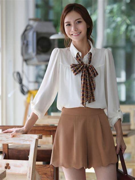 Korean Fashion Chiffon Puff Long Sleeve White Blouse