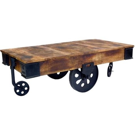 end table with wheels industrial cart style coffee table w antique wheels buy