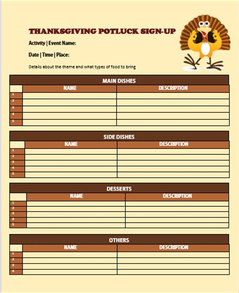 potluck lists templates