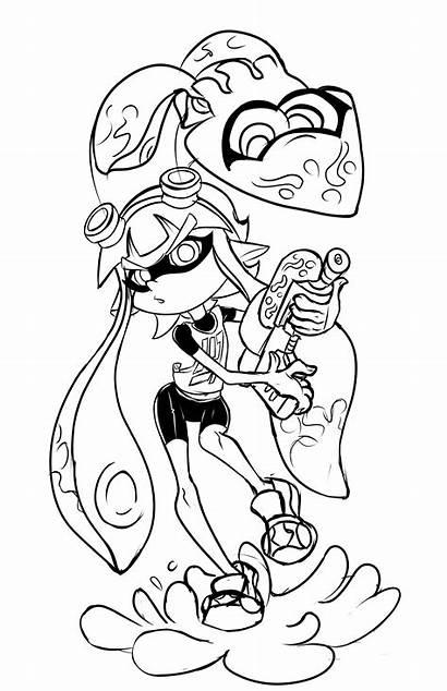 Splatoon Inkling Pages Squid Deviantart Coloring Line