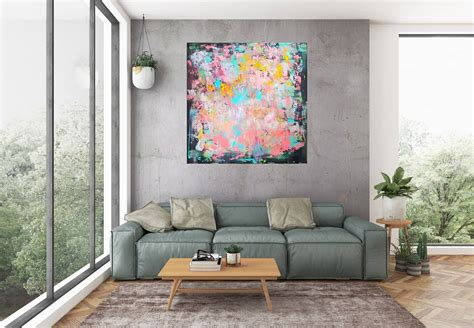 Colorful Living Room Escape by Coral Reef Large Colorful Abstract Ivana Olbricht