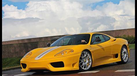yellow ferrari  challenge stradale full acceleration