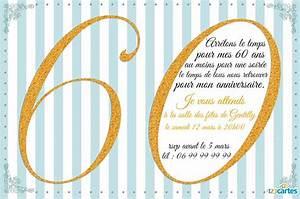 Faire Part Anniversaire 60 Ans : invitation anniversaire 60 ans avec effet paillet or 123cartes ~ Melissatoandfro.com Idées de Décoration