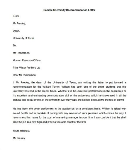 recommendation letter structure letters  sample