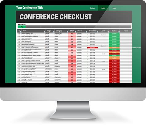 conference planning checklist excel template  behance