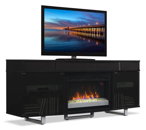 "Odesos 72"" TV Stand with Glass Ember Firebox and Soundbar"