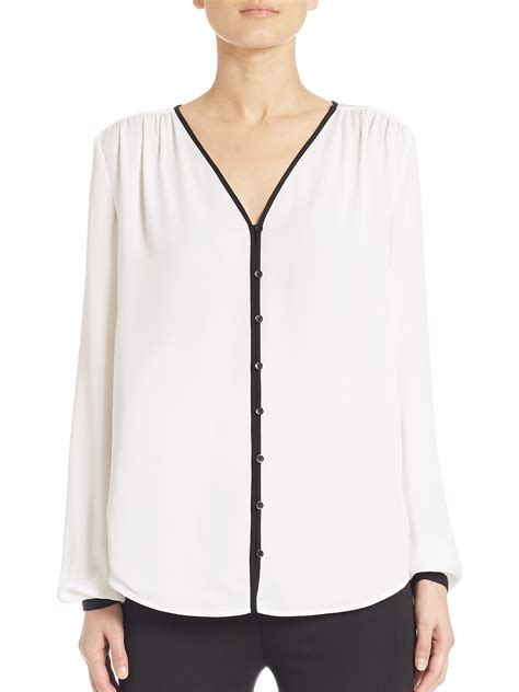 v blouse michael michael kors silk v neck blouse in white lyst