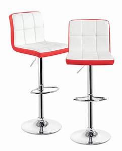 Chaise De Bar Rouge : sivan lot de 2 chaises de bar confort pu et chrome ~ Teatrodelosmanantiales.com Idées de Décoration