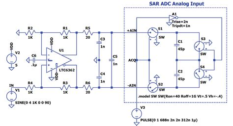ltspice simulating sar adc analog inputs analog devices