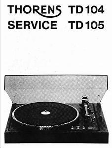Thorens Td-104   Td-105 Turntable   Service Manual