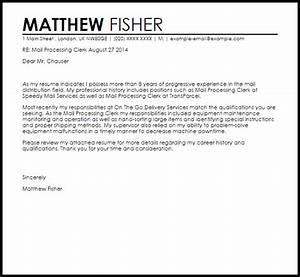 Mail processing clerk cover letter sample livecareer for Cover letter for mail processing clerk