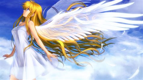 Wallpaper Beautiful Anime Girl Angel Wings White Feathers