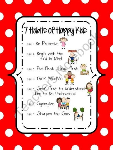 Includes free printable dinosaur bookmarks keep track of kids' healthy habits like eating, exercise, and more with this free printable journal. 7 Habits of Happy Kids Poster (Red) product from KCriss Creations on TeachersNotebook.com | FREE ...