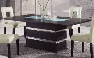 brown contemporary pedestal dining table with glass inlay naperville illinois gfg072dt