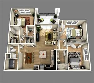 3d open floor plan 3 bedroom 2 bathroom google search With plan de maison design 0 single family home photorealistic renderings and 3d