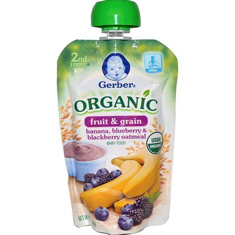 grub organic gerber 2nd foods organic baby food fruit grain banana blueberry blackberry oatmeal 3 5