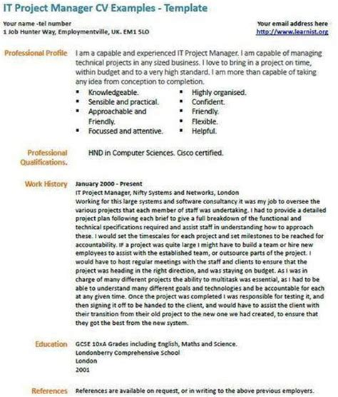 it project manager cv exle uk vacancies