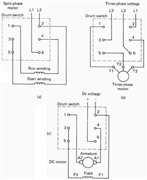 Single Phase Reversing Switch Wiring by A 3 Phase Drum Switch Wiring Diagrams Dayton Diagram
