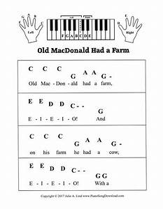 Old Macdonald Had A Farm  Pre Staff Piano Sheet Music For Beginners