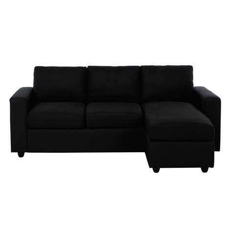 canapé d angle en canapé d 39 angle 3 places en tissu noir jules maisons du monde